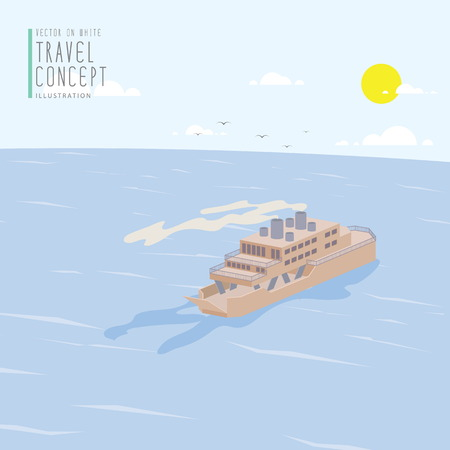ferry: Illustration vector Ferry Boat in the ocean flat style. Illustration