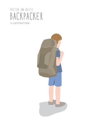 backpacker: Illustration vector backpacker on white background flat style.