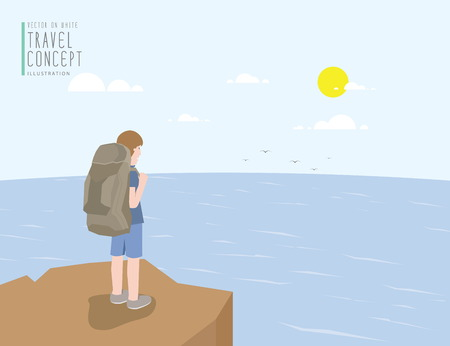 Illustration vector backpacker standing on a cliff looking out to the sea view. On a clear day flat style.