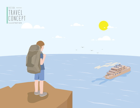 clear out: Illustration vector backpacker standing on a cliff looking out to the sea and ferry boat. On a clear day flat style.