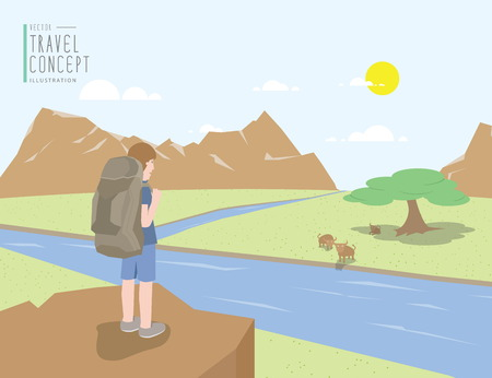 backpacker: Illustration vector backpacker standing on a cliff looking out to the landscape mountains view and animal. On a clear day flat style.