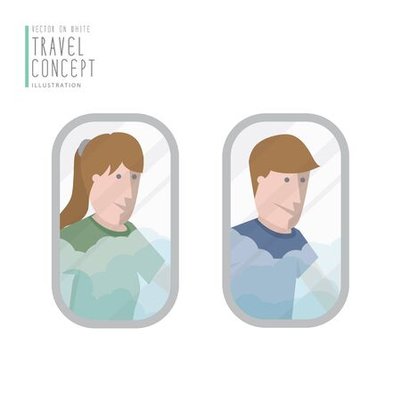 airplane window: Illustration vector a man and a woman looking out the airplane window flat style. Illustration