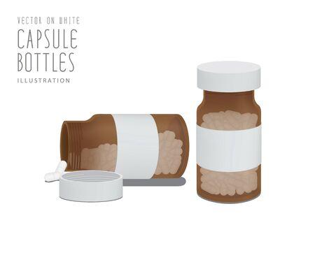 eastern medicine treatment: Illustration vector drug capsules in brown glass bottle.