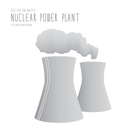 powerhouse: Illustration vector nuclear power plant  flat style.