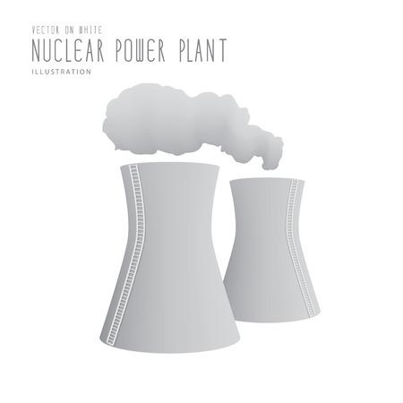 thermal power plant: Ilustraci�n del vector central nuclear estilo plano.