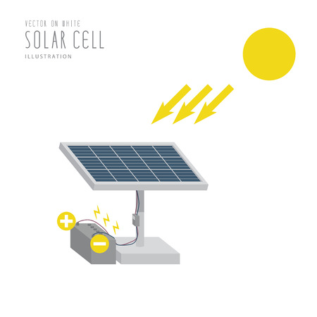photocell: Illustration vector solar cell flat style.