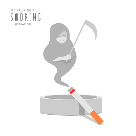 ashtray: Illustration cigarette on the ashtray, The smoke is the god of death flat style. Illustration