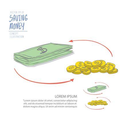 circulating: Illustration vector circulating money of coins and dollar. Drawing paint flat style.