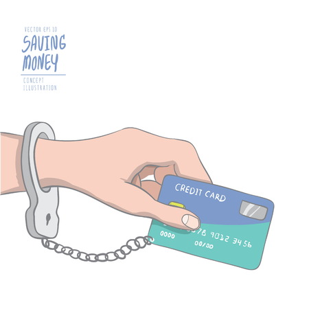 Illustration vector a hand handcuffed tethered to a credit card. Drawing paint flat style. Illusztráció