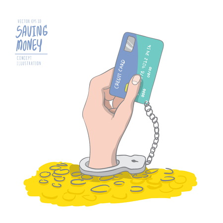 prisoner of the money: Illustration vector a hand handcuffed tethered to a credit card out of pile coins. Drawing paint flat vector.