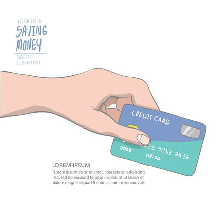 spend: Illustration vector a hand holding credit card to spend. Drawing paint flat style.