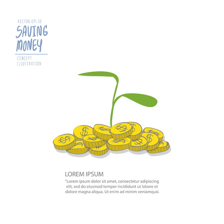 branch to grow up: Illustration vector young plant on a pile of coins. Drawing paint flat style.
