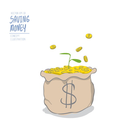 bank branch: Illustration vector young plant on a pile of coins in the bag and coins falling to the bag. Drawing paint flat style. Illustration