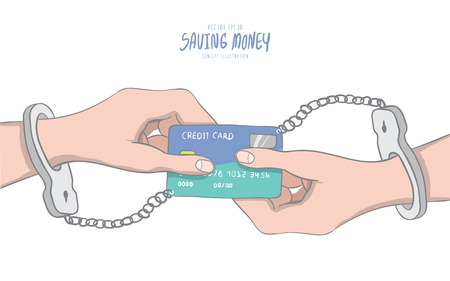 handcuffed hands: Illustration vector hands handcuffed tethered to a credit card shaped like infinity symbols. Drawing paint flat style.