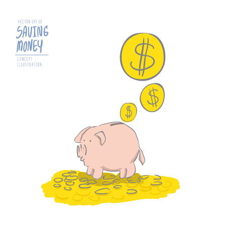Illustration vector pink piggy bank on a pile of coins and the coins falling on it. Drawing paint flat style.