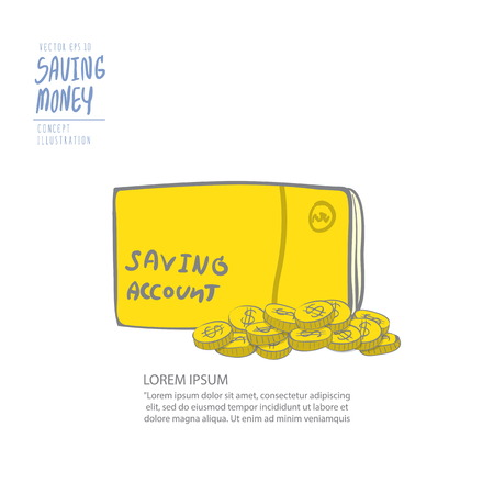 cash book: Illustration vector book bank and pile of coins. Drawing paint flat style.