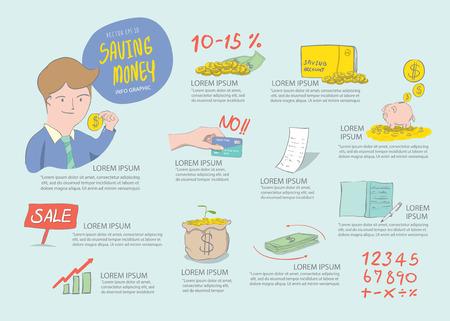 Illustration vector saving money info graphics. Drawing paint flat style. 일러스트