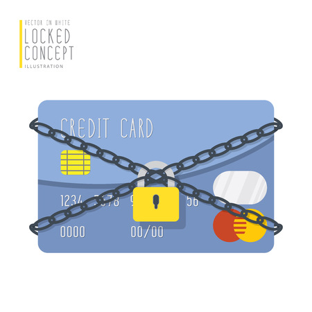 secret password: Illustration vector credit card are bound with chains and locked with a padlock flat style. Illustration