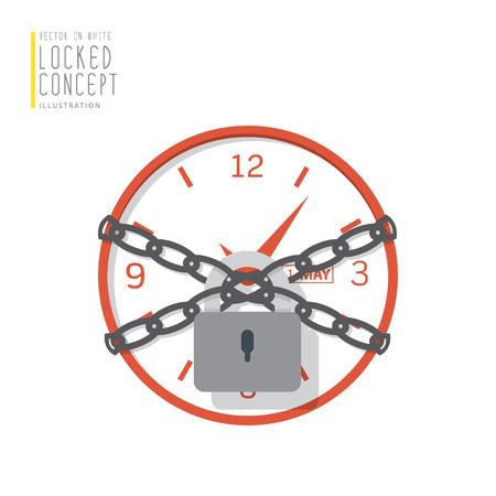 Illustrations horloge sont liés avec des chaînes et verrouillé avec un style plat de cadenas.