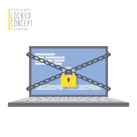 unsafe: Illustration vector laptop computer are bound with chains and locked with a padlock flat style.
