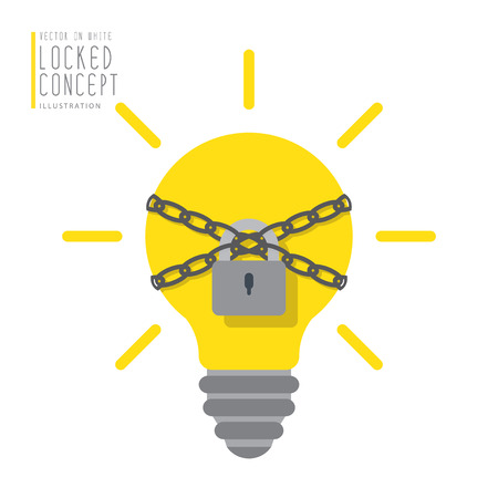 bound: Illustration vector light bulb are bound with chains and locked with a padlock flat style.