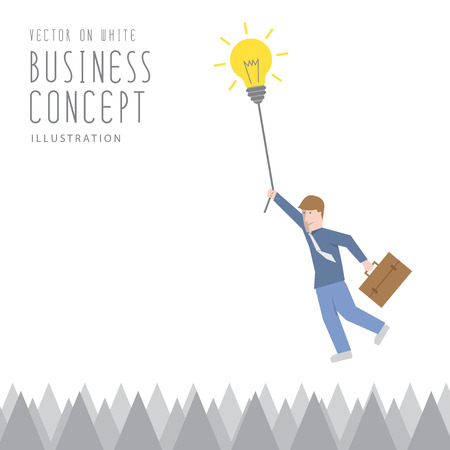 adhesion: Illustration vector businessman overcome the obstacles of sharp barbs by adhesion by a rope of light bulb flat style. Illustration