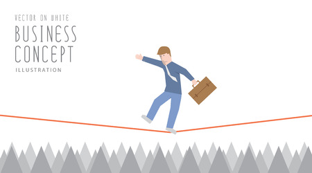 Illustration vector businessman in equilibrium on a rope over sharp thorns flat style.