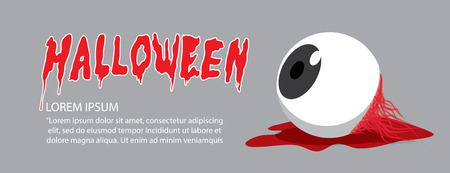 Illustration vector banner of eyeball on the floor on Halloween in order to makes the horror and scary flat style.