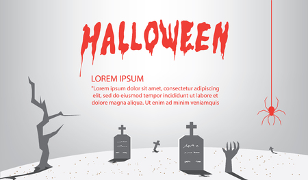 terrible: Illustration vector halloween Signs of gray for content With a background as a tomb flat style.