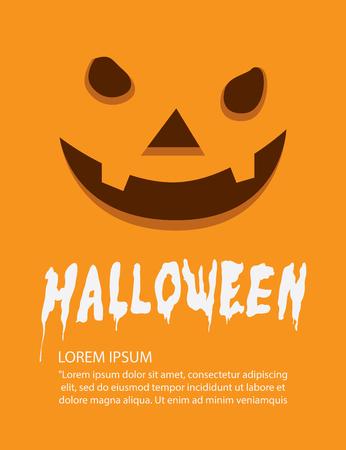 terrible: Illustration vector poster of orange face pumpkin on Halloween flat style.