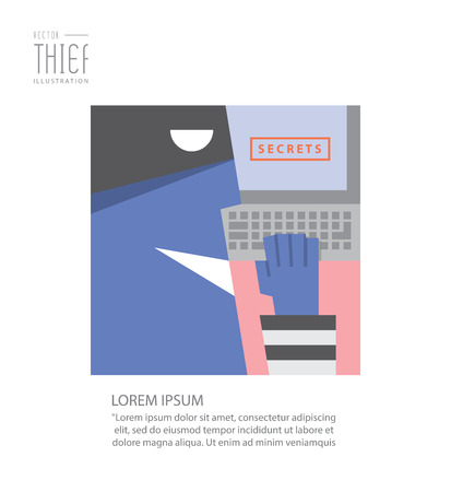 stealing data: The thief stealing confidential data from computer.