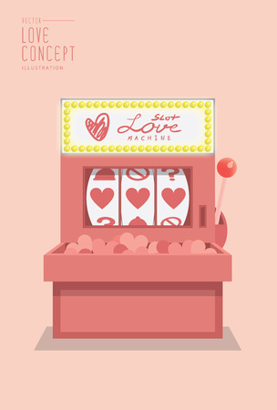 Illustration vector slot machine love prediction flat style. Stock Illustratie