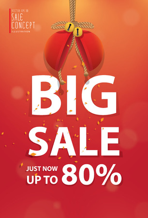 heading: Big sale heading banner poster. Sale and discounts. Vector illustration