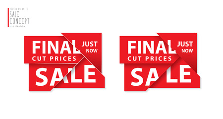 heading: Final cut prices heading design for banner or poster. Sale and discounts. Vector illustration Illustration