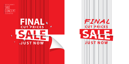 Final cut prices heading design for banner or poster. Sale and discounts. Vector illustration Vectores