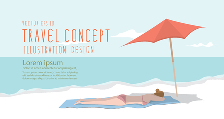heading: Illustration vector young woman relax on the beach heading banner flat style.