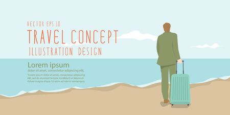 Illustration vector businessman dragging a suitcase at the beach banner flat style.