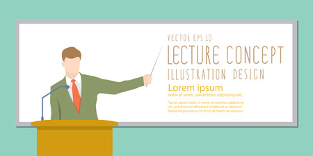 Illustration vector lecturer giving lecture or presentation. Standing in front of whiteboard
