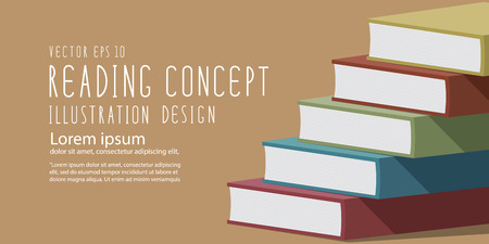 heading: Illustration vector stack of books heading banner flat style.