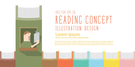 literary man: Illustration vector boy reading a book in the window of the spine book heading banner flat style.