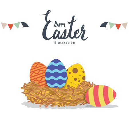 birds nest: Illustration vector easter eggs in a nest made of straw flat style.