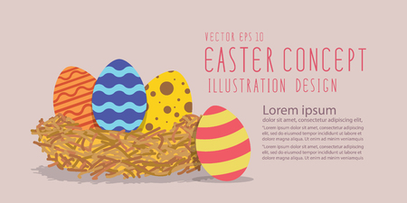 heading: Illustration vector easter eggs in a nest made of straw heading banner flat style. Illustration