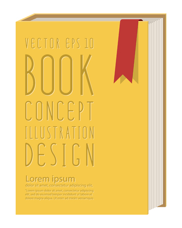 foreshortening: Illustration vector blank vertical book cover template standing on yellow surface flat style.