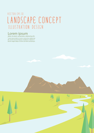 big scenery: Illustration vector beautiful natural scenery has a long road to the big mountains flat style.