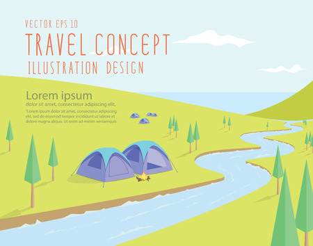 cartoon land: Illustration vector campsites spectacular natural located along the river that flows into the sea on a bright day flat style.