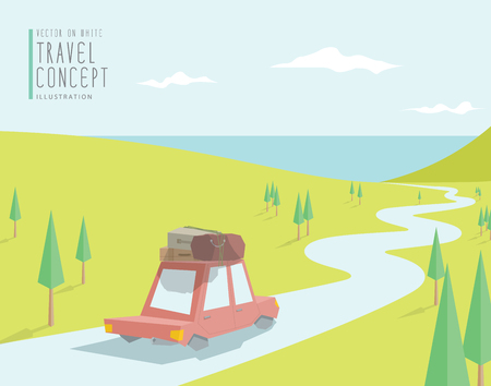 brooks camp: Illustration vector the car go to travel at sea among the beautiful scenery. carry luggage on the roof flat style. Illustration