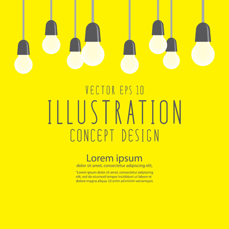 Illustration vector many bulbs for decor or celebration flat style.