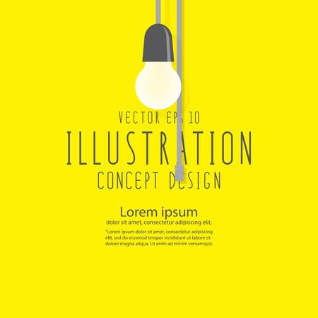 Illustration vector bulb that shines brightly flat style.