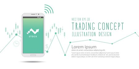 Illustration vector stock trading over the Internet with a mobile phone banner. Vectores