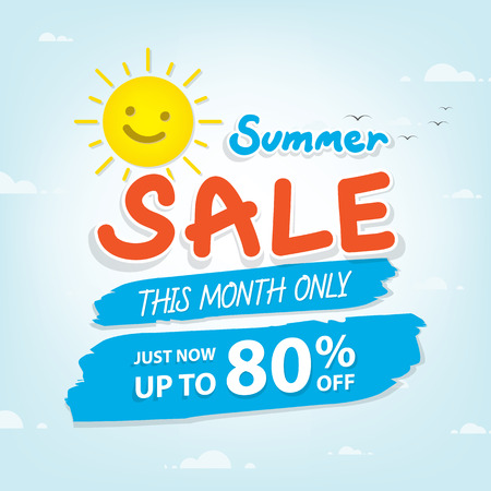 Summer Sale heading design for banner or poster. Sale and discounts. Vector illustration